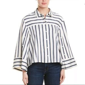 BCBGMAXAZRIA Combo Striped Bell Sleeve Top